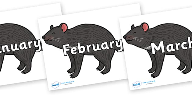 Months of the Year on Tasmanian Devil - Months of the Year, Months poster, Months display, display, poster, frieze, Months, month, January, February, March, April, May, June, July, August, September