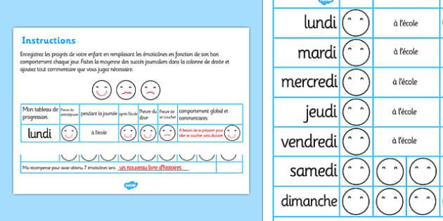 Home Behaviour Progress Chart French - french, home behaviour progress chart, progress, home, behaviour, charts, chart, award, well done, reward, medal, rewards, school, general, achievement