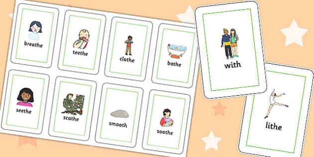 Final Voiced 'th' Sound Flash Cards - final th, sound, flash cards