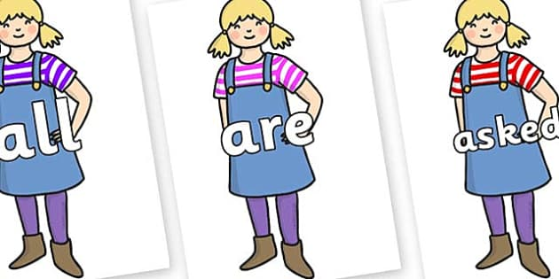 Tricky Words on Little Girl - Tricky words, DfES Letters and Sounds, Letters and sounds, display, words