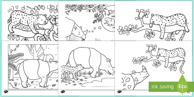 Ronald the Rhino Colouring Pages - Ronald the Rhino, rhyming, pattern, story, jungle, Africa, rhino,