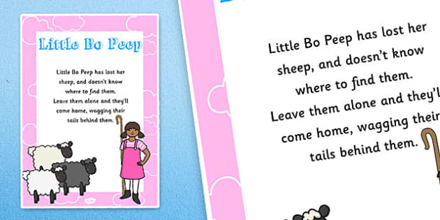 Little Bo Peep Nursery Rhyme Poster - rhymes, display, posters