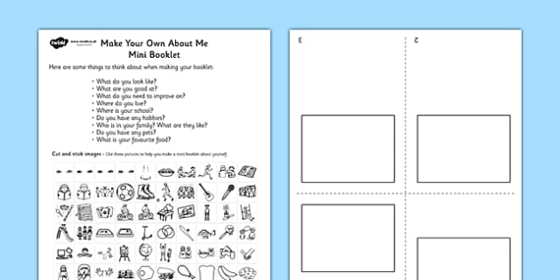 Make Your Own All About Me Mini Booklet - all about me, booklet