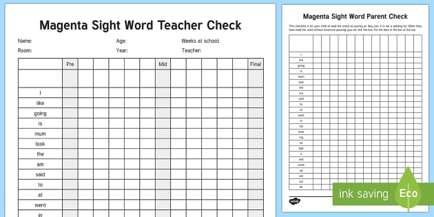 Magenta Reading Sight Words Checklist - Literacy, Reading, Magenta Sight Words, Colour Wheel, tracking, progress, engish, new zealand, nz
