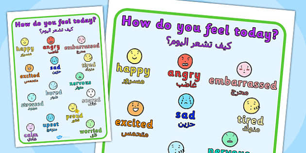 How Do You Feel Today? Emotions Chart Arabic Translation - arabic
