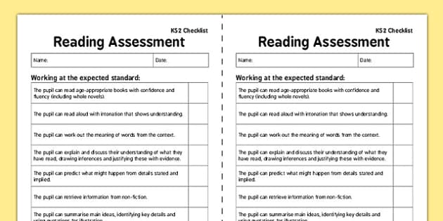 KS2 Reading Exemplification Checklist - ks2, reading, exemplification, checklist