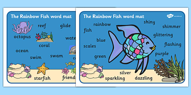 Word Mat (Images) to Support Teaching on The Rainbow Fish - The Rainbow Fish, Marcus Pfister, resources, Rainbow Fish, PSHE, PSE, octopus, shimmering scales, starfish, friendship, under the sea, sea, story, story book, story book resources, story seq