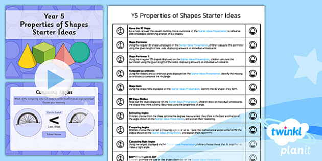 PlanIt Y5 Properties of Shapes Starter Ideas Pack - PlanIt, Properties of Shapes, M&O, mental and oral starters, shapes starters