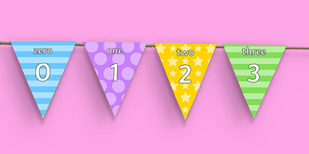 Multicolour Number Words and Numerals Display Bunting - number words, numerals, display bunting, display, bunting