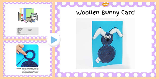 Woollen Bunny Card Craft PowerPoint - woollen, bunny, craft