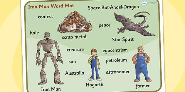 The Iron Man Word Mat - iron man, superheroes, keyword mat, story