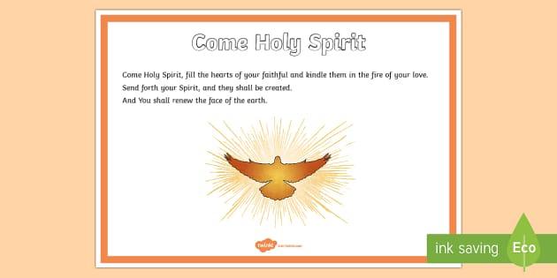 Come Holy Spirit Prayer A4 Display Poster - CfE Catholic Christianity, prayers, mass responses, Holy Spirit,Scottish