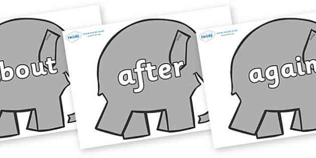 KS1 Keywords on Elephants to Support Teaching on Elmer - KS1, CLL, Communication language and literacy, Display, Key words, high frequency words, foundation stage literacy, DfES Letters and Sounds, Letters and Sounds, spelling
