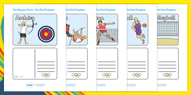 The Olympics Event Postcard Templates -  event, postcard, Olympics, Olympic Games, sports, Olympic, London, template, creativity, 2012, activity, Olympic torch, medal, Olympic Rings, mascots, flame, compete, events, tennis, athlete, swimming