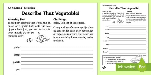 Describe That Vegetable Activity Sheet