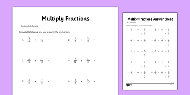 Year 6 Multiply Fractions Activity Sheet maths ks2 upper key – Year 6 Fractions Worksheet