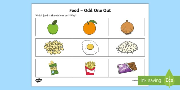 Food   Odd One Out Activity Sheet - Odd One Out, Worksheet, different, spot the difference, describe, description, Worksheet, difference