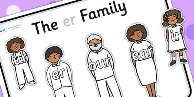 Er Sound Family Cut Outs - sound families, sounds, cutouts, cut