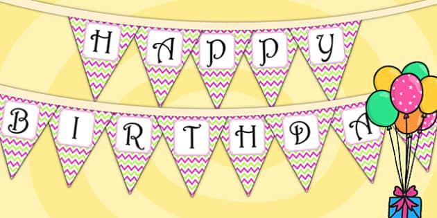 Zig Zag Birthday Party Happy Birthday Bunting Pink And Green