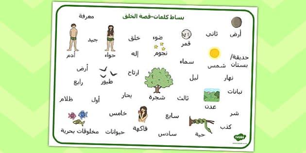 بساط كلمات قصة الخلق - أدم وحواء، قصة الخلق، موارد تعليمية