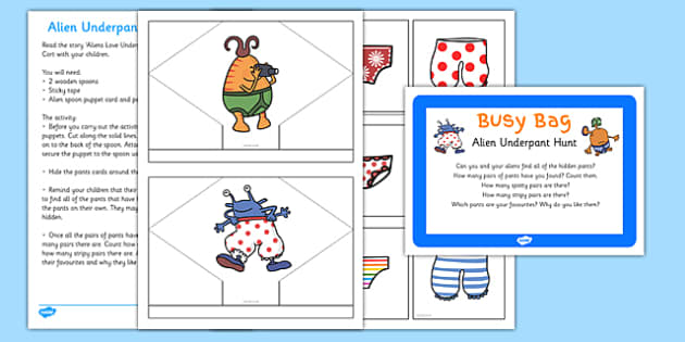 Alien Underpant Hunt Busy Bag Prompt Card and Resource Pack to Support Teaching on Aliens Love Underpants - scavenger hunt, wooden spoon puppet