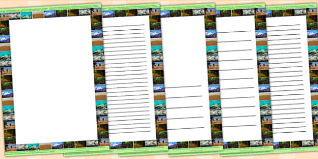 Animal Habitats Photo Page Borders - animal, writing template