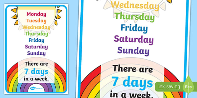 Visual Prompt Display Poster (Days In A Week) - days, week, visual prompt, aid, learning, 7 days, time, how many days in a week