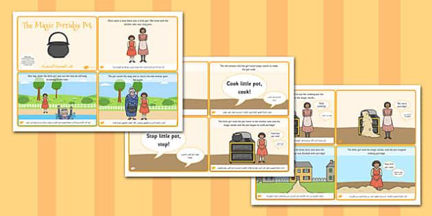 The Magic Porridge Pot Story Sequencing 4 per A4 Arabic Translation