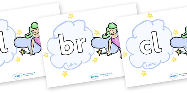 Initial Letter Blends on Fairies (Plain) - Initial Letters, initial letter, letter blend, letter blends, consonant, consonants, digraph, trigraph, literacy, alphabet, letters, foundation stage literacy