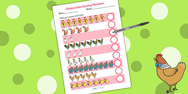 Chicken Licken Counting Sheet - count, counting, stories, books