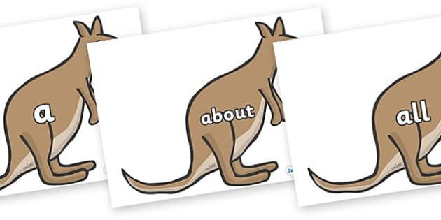 100 High Frequency Words on Kangaroos - High frequency words, hfw, DfES Letters and Sounds, Letters and Sounds, display words