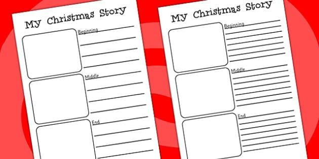 Christmas Story Writing Worksheets - christmas, writing, story
