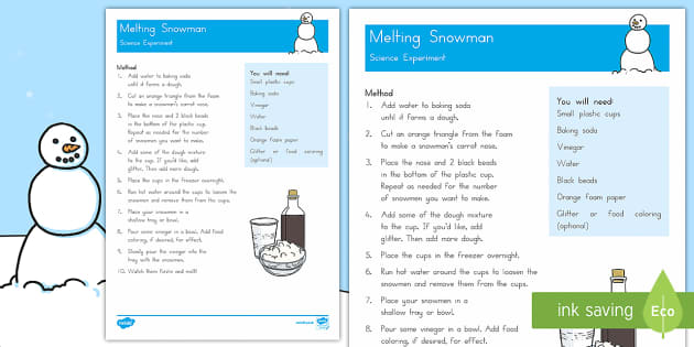 Melting Snowmen Activity - Winter, snow, ice, melt, freeze, experiment, investigation, fizz, bicarbonate of soda, baking powder
