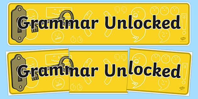 Grammar Unlocked Display Banner - grammar, display banner, banner
