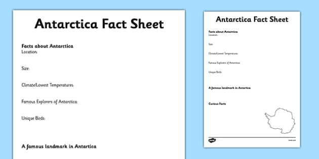 Antarctica Factsheet Writing Template - antarctica, antarctica fact sheet, antarctica fact file, antarctica worksheet, facts about antarctica, habitats
