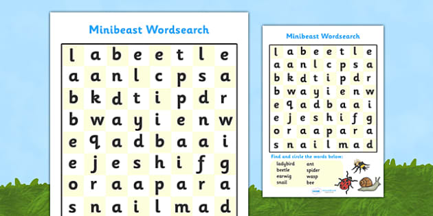 Minibeast Wordsearch - minibeast wordsearch, minibeast, minibeasts, wordsearch, words, search, activity, circle words, knowledge and understanding of the world, investigation, living things, snail, bee, ladybird, butterfly, spider, caterpillar