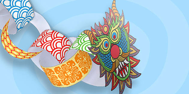 Chinese New-Year Paper Chain Craft Dragon - chinese, Australia
