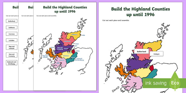 Highland Counties until 1996 Jigsaw Map-Scottish - Requests CfE, map, Highlands, Scotland, Scottish Highlands, jigsaw,Scottish