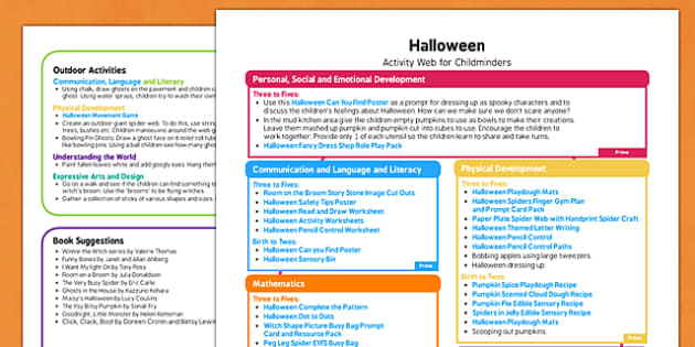 Halloween Activity Web for Childminders - halloween, activity, web, childminders
