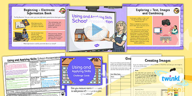 PlanIt - Computing Year 3 - Using and Applying Skills Lesson Pack - information, presentation, project, ebook, school, present, groups, research
