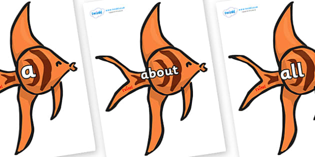 100 High Frequency Words on Angel Fish - High frequency words, hfw, DfES Letters and Sounds, Letters and Sounds, display words