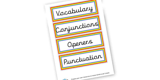 VCOP - VCOP Primary Resources, Vocabulary, Connectives, Openers