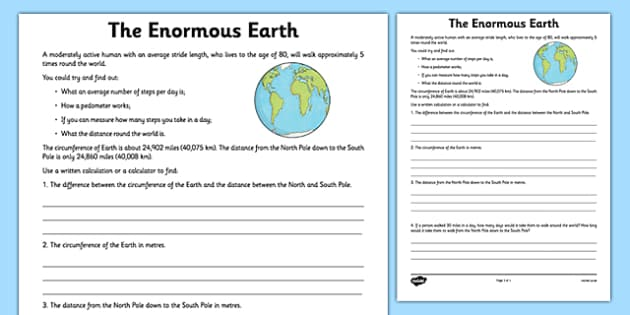Enormous Earth Calculations Activity Sheet - earth, distance, circumference earth, measure, worksheet