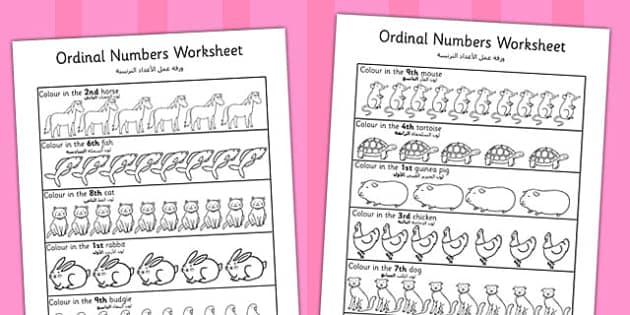 Ordinal Numbers Worksheet Arabic Translation - arabic, ordinal numbers