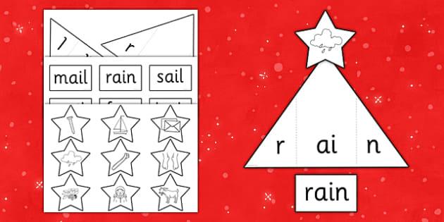 Phase 3 Christmas Tree CVC Words Activity - phase 3, christmas tree, cvc, words, activity