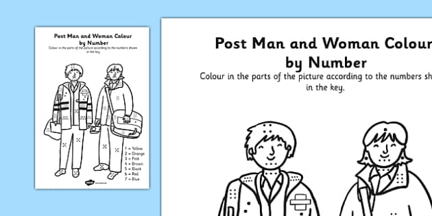 Post Man and Woman Colour By Numbers Dots - colour, number dots, number, dots, post man, post woman