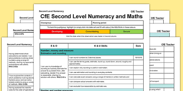Numeracy and Mathematics CfE Second Level Tracker - CfE, planning, tracking, numeracy, language, I can, Second