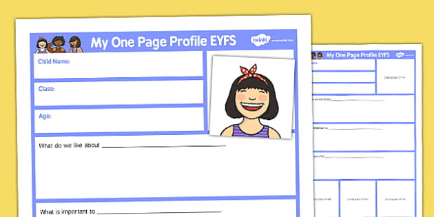 My One Page Profile EYFS - my one page, profile, eyfs, early years