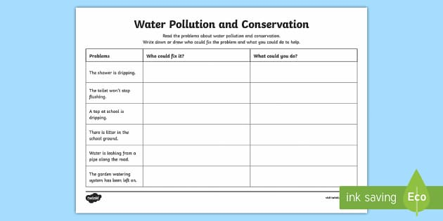 Water Pollution and Conservation Problems Activity Sheet Water – Water Pollution Worksheet