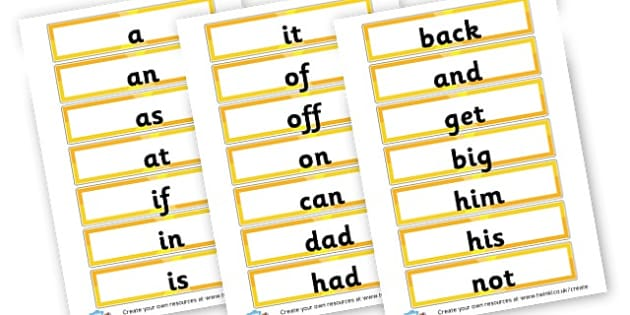 HFWs Phase 2 (large text) - Phase 2 Visual Aids Primary Resources, Phase One, Letters, sounds